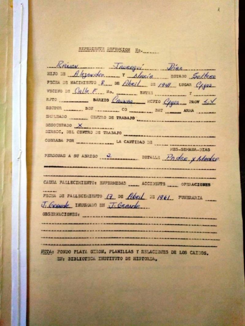 Certificado de defunción del soldado Jaureguí Díaz.