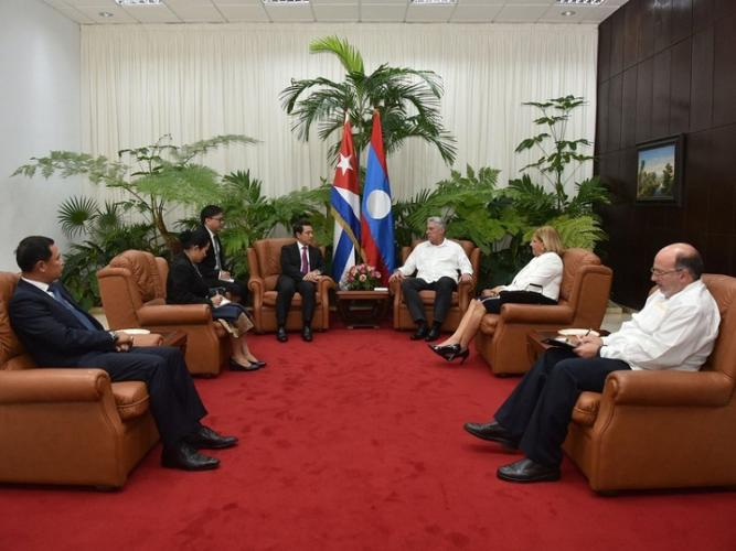 Cuban president Díaz-Canel receives Lao Foreign Minister