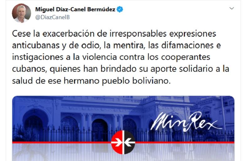 Denuncia Díaz-Canel acoso y maltrato contra médicos cubanos en Bolivia