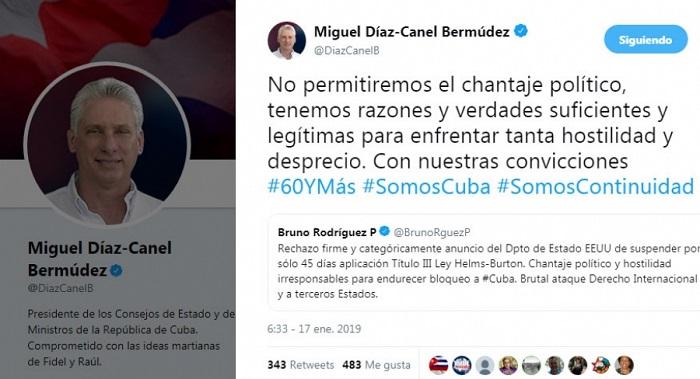 Rechaza Canciller cubano anuncio de Secretario de Estado de EE.UU.