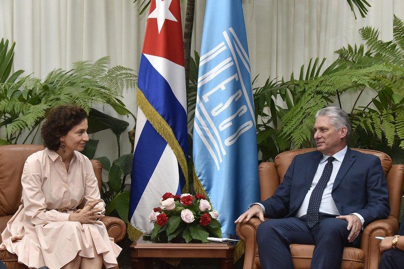 Recibió Díaz-Canel a la Directora General de la UNESCO
