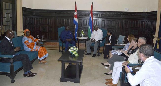 Presidente del Parlamento cubano dialoga con canciller de Gambia