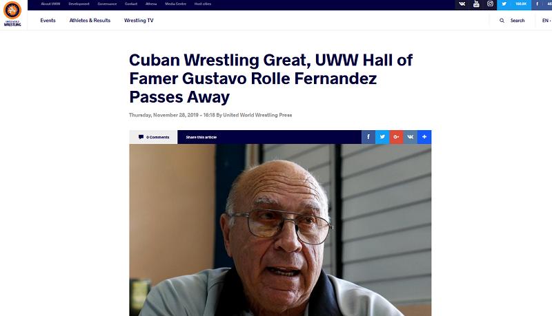 Unión Mundial de Lucha lamenta fallecimiento de Gustavo Rollé