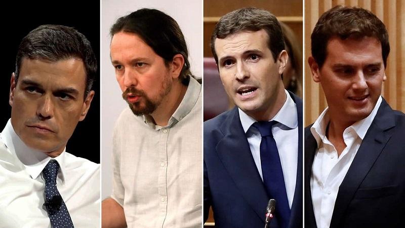 Se enfrentan los cuatro principales líderes políticos de España