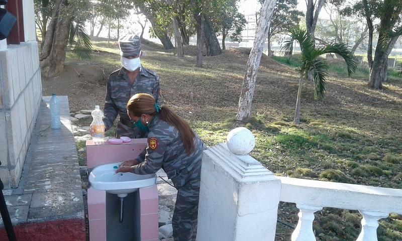 Cumplen medidas contra la COVID-19 en Brigada de la Frontera