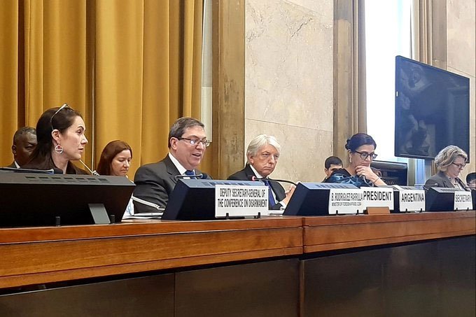 Cuban FM delivers speech at Conference on Disarmament