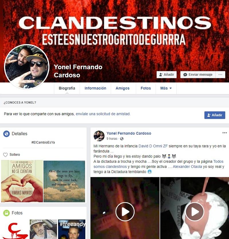 Perfil en la red social Facebook de Yonel Fernando Cardoso Freyre.