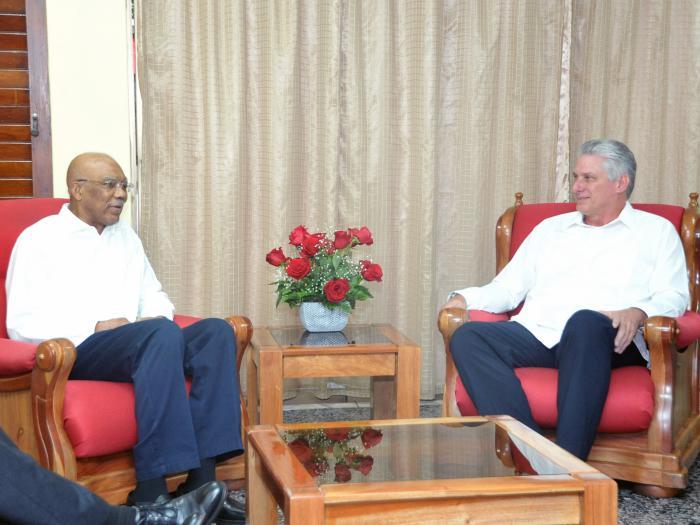 Díaz-Canel visitó al Presidente de Guyana
