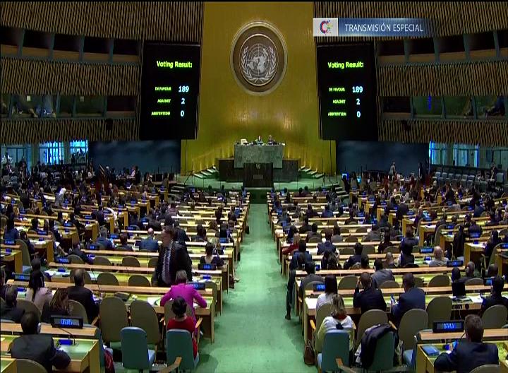 Votaciones contra el bloqueo ONU