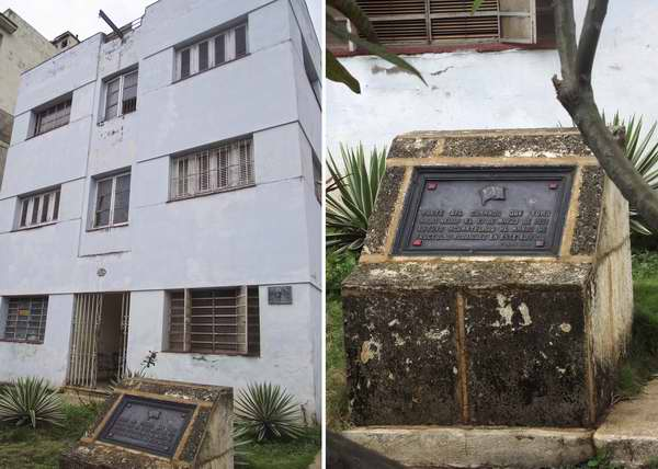 Tarja que recuerda el edificio donde se acuartel� parte del comando que tom� Radio Reloj el 13 de marzo de 1957. Foto Abel Rojas